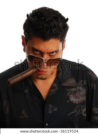 evil man frowningly staring - stock photo