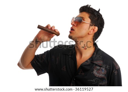 Evil man smoking a cigar - stock photo