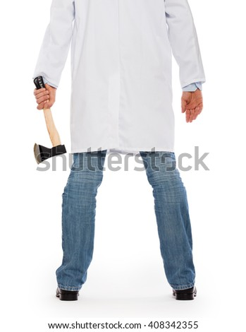 Evil medic holding a small axe, isolated on white