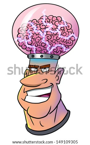 Evil mega-mind - stock photo