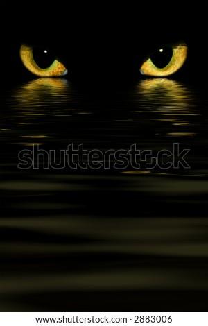 evil monster cat eyes over water - stock photo