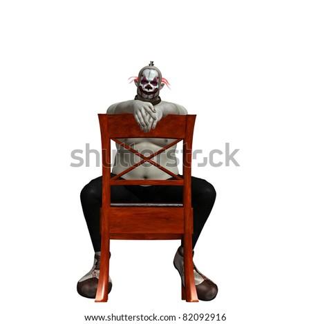 evil scary creepy clown - stock photo
