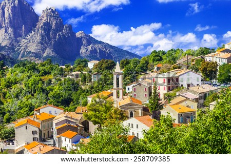 Evisa -pictorial mountain village in Corsica - stock photo