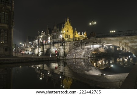 Evneing on the banks of Graslei, the medieval section of Ghent in Belgium - stock photo