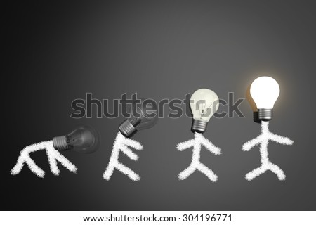 evolution concept with light bulbs  - stock photo