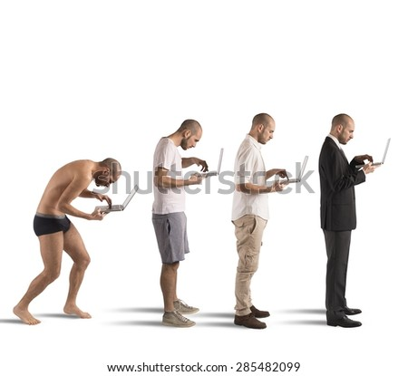 Evolution from hunched man to successful man - stock photo