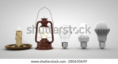 Evolution of lighting - stock photo