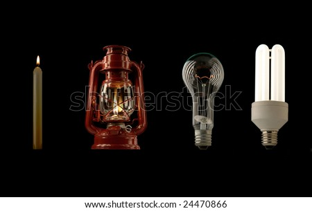 Evolution of lighting light sources - stock photo