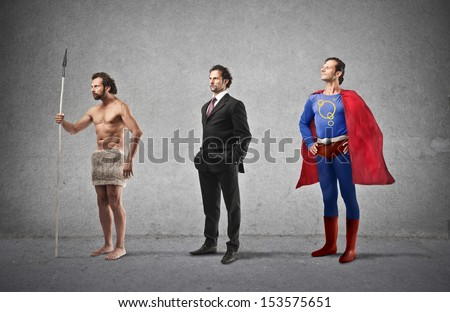 evolution of man from caveman to super hero - stock photo