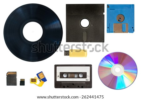 Evolution of technology data and media storage concept collage - stock photo