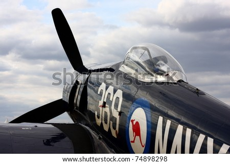 EVORA, PORTUGAL - SEPTEMBER 19: Hawker Sea Fury FB 11 at Portugal Air Show, on September 19 2009, in Evora, Portugal. This aircraft is a fighter-bomber, developed during the Second World War. - stock photo
