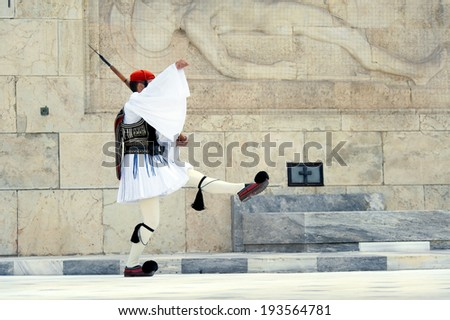 Evzoni guard in front of the Greek parliament, Athens - stock photo