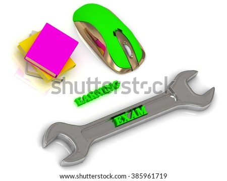 EXAM  bright volume letter on silver instrument, textbooks and computer mouse on white background - stock photo