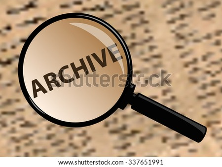 Examining archive through a magnifying glass - stock photo