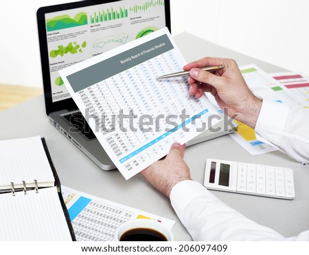 Examining Financial Performance - stock photo