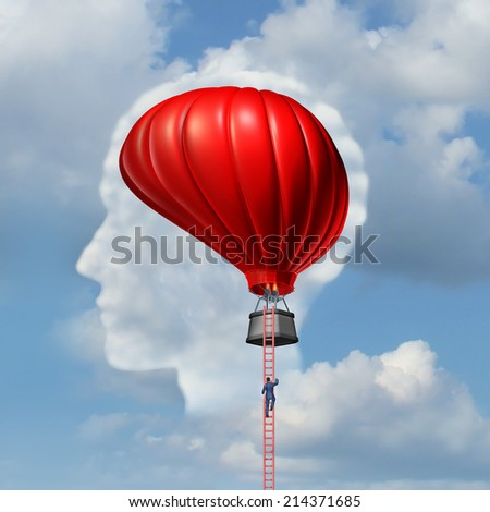 Examining the brain medical concept or business metaphor as a man climbing or descending a ladder to an air balloon shaped as a human brain as a symbol for the freedom of intelligent thinking. - stock photo