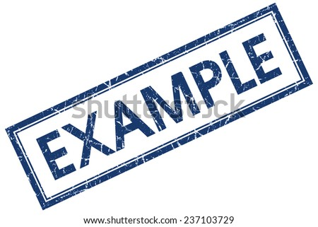 example blue square stamp isolated on white background - stock photo