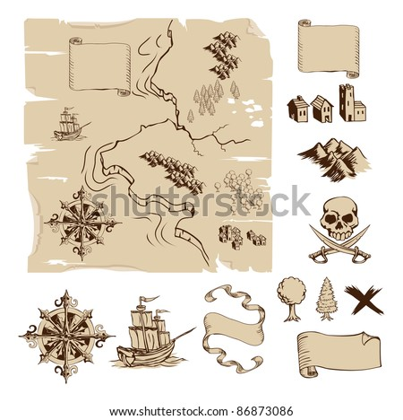 Example map and design elements to make your own fantasy or treasure maps. Includes mountains, buildings, trees, compass etc. - stock photo