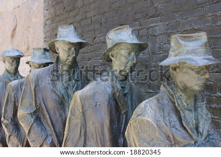 Example of a Bread line from depression era United States. Sculpture by George Segal. Franklin D. Roosevelt Memorial. Washington D.C. USA - stock photo