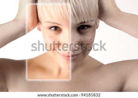 Example of beauty photo manipulation in digital software - stock photo