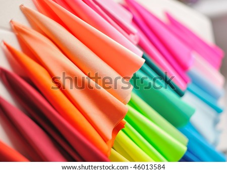 Example of Colorful fabrics - stock photo