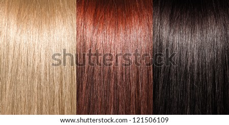 Example of different hair colors - stock photo