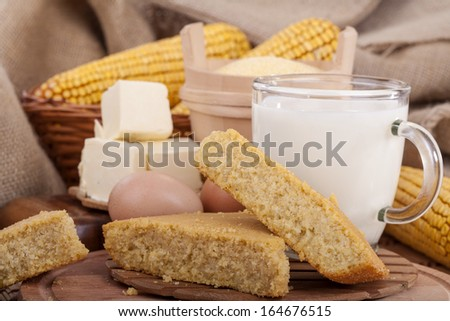 example of healthy food, corn bread baked in the traditional way - stock photo