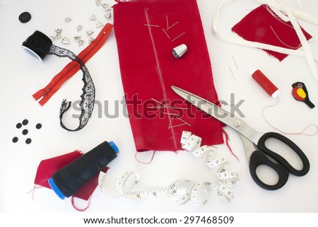 example of part of a studio of a seamstress or a tailor  - stock photo