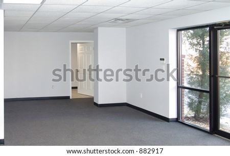 Example of standard office space in an industrial park setting. - stock photo