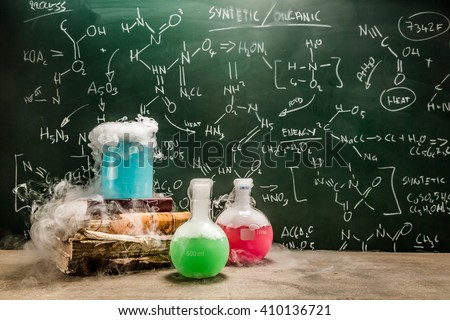 Example of using dry ice in the chemistry lesson - stock photo