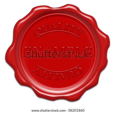 example quality - illustration red wax seal isolated on white background with word : example - stock photo