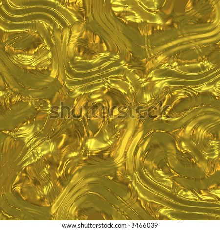 Excavated archaeological artifacts glittering with gold (rendered) - stock photo