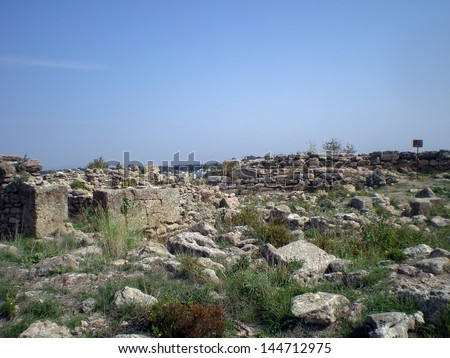 Excavated ruins at Ras Shamra. Ugarit