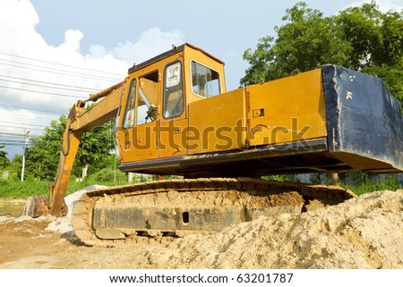 Excavation for construction vehicles. - stock photo