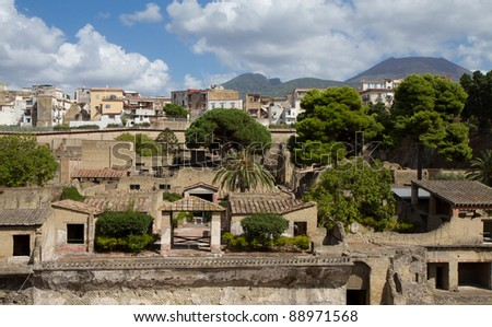 Excavation of Herculaneum, Campania, Italy - stock photo