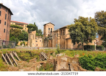 Excavations in the historical part of Rome, Italy - stock photo