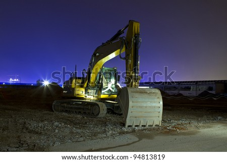 Excavator at night long exposure shot