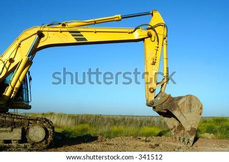 excavator, backfiller - stock photo