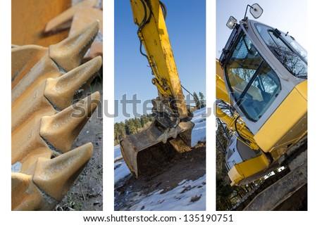 excavator collection - stock photo