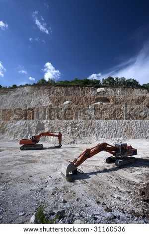 excavator for the extraction of sand, gravels.. - stock photo