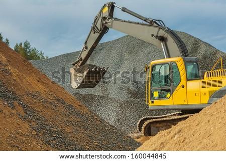 excavator in work - stock photo