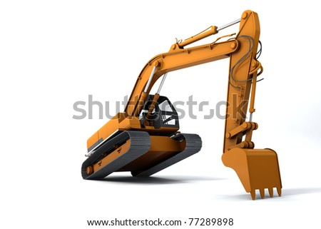 Excavator is in the interesting position. Scoop rests on the ground. Isolated on white - stock photo