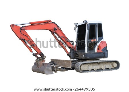 excavator isolated on a white background - stock photo