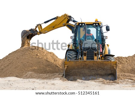 excavator isolated on the white background