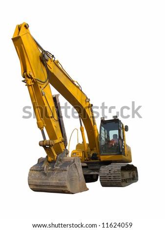 Excavator isolated on white - stock photo
