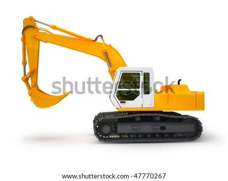 Excavator isolated on white - stock photo