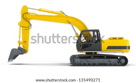 Excavator isolated on white background. Left view - stock photo
