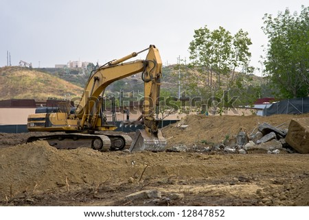 Excavator on a job site