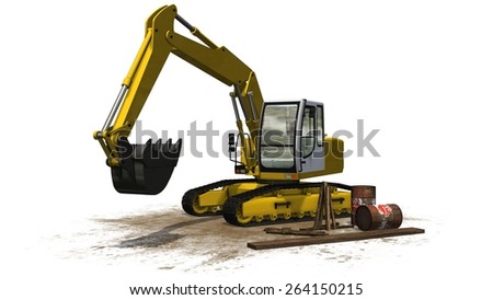 excavator on construction site isolated on white background