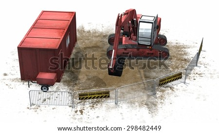 excavator on construction site with under construction sign separated on white background - stock photo
